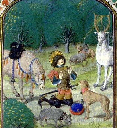 Hubertus trifft den Hirsch, Bild: Ökumenisches Heiligenlexikon